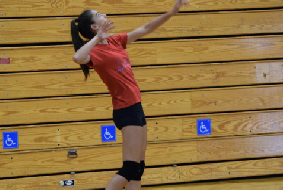 Freshman Casey Roy is warming up with her varsity volleyball teammates during their rigorous daily practices.